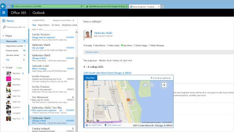 Krupni plan korisnikove ulazne pošte u web-aplikaciji Outlook Web App povezanoj sa sustavom Exchange.