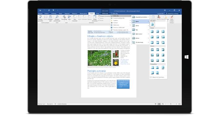 Surface s prikazanom novom značajkom vođenja kroz kontrole u dokumentu programa Word.