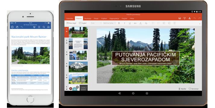 Telefon s dokumentom programa Word koji se uređuje i tablet s prikazanim slajdovima programa PowerPoint koji se uređuju.
