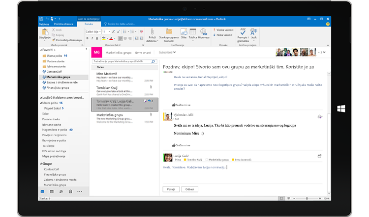 Zaslon tableta s prikazom grupnog razgovora u programu Outlook