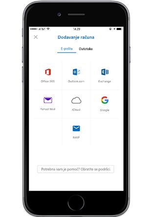 Pametni telefon s prikazom zaslona Dodavanje računa u programu Outlook za mobitele