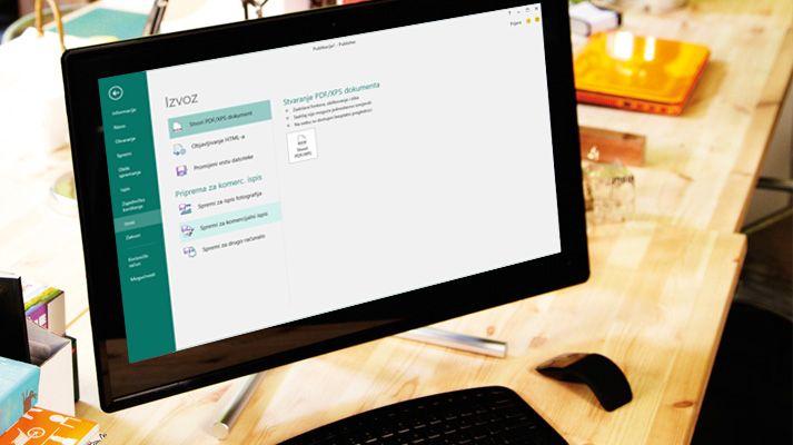 PC s otvorenom publikacijom programa Publisher dok su na vrpci prikazane mogućnosti slanja e-poštom.