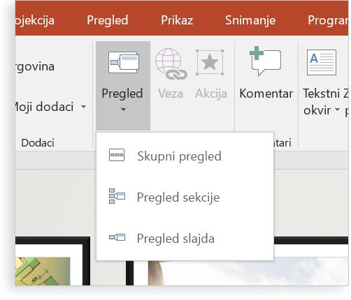 Tablet sa slajdom programa PowerPoint sa značajkom zumiranja