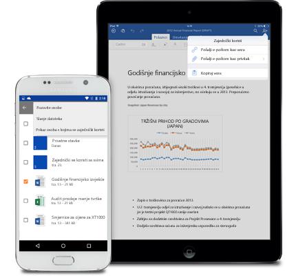 Na tabletu i pametnom telefonu prikazan je izbornik za zajedničko korištenje na servisu OneDrive za tvrtke.