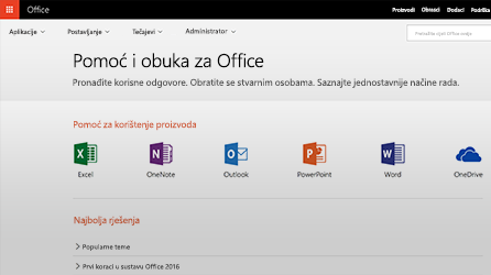 Snimka zaslona pomoći i podrške za Office u sustavu Office 365