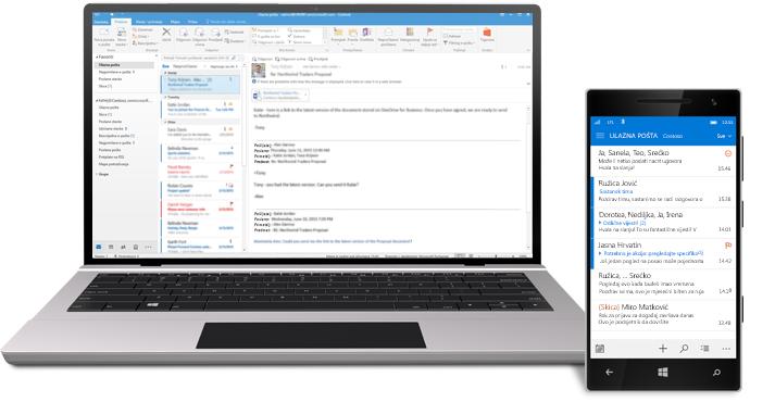 Tablet i pametni telefon s prikazom ulazne pošte e-pošte sustava Office 365.
