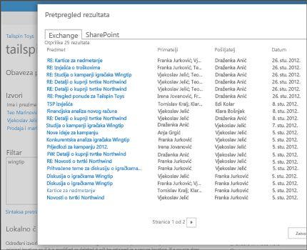 Krupni plan stranice pretpregleda rezultata za pretraživanje servisa Exchange Online.
