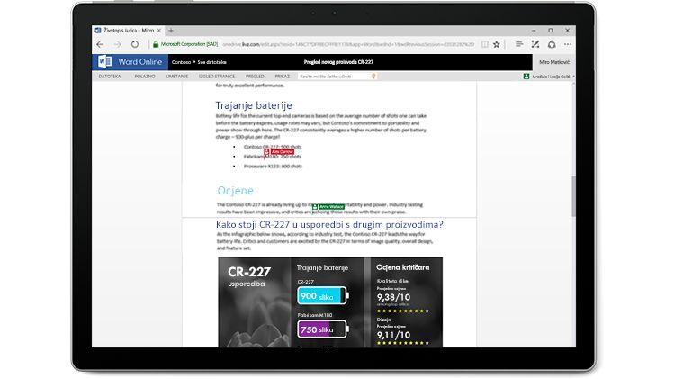 Snimka zaslona na kojem veći broj autora uređuje u web-aplikaciji Word Online