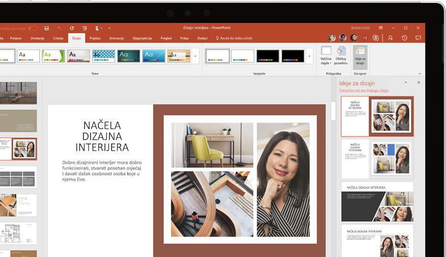 Prezentacija programa PowerPoint prikazana na uređaju