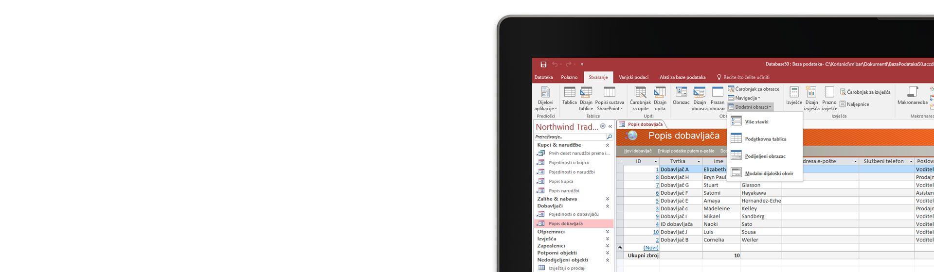 Kut računalnog zaslona na kojem se prikazuje popis dobavljača u bazi podataka programa Microsoft Access.