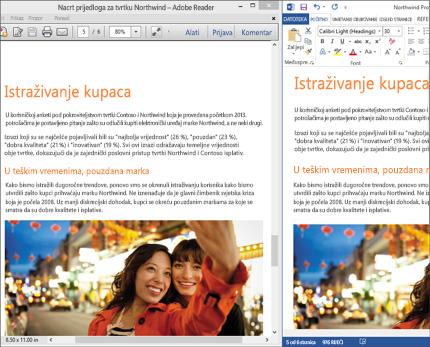 Prijenosno računalo s dvije različite usporedne verzije jednog dokumenta programa Word.