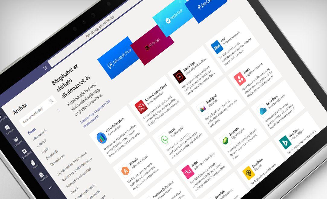 A Microsoft Teams alkalmazás egy laptop képernyőjén