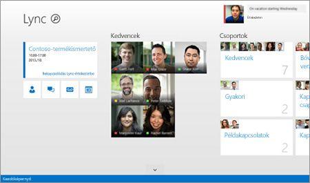 A Lync kezdőképernyőjének képe a partnerek és a kapcsolatfelvételi lehetőségek miniatűrjével.