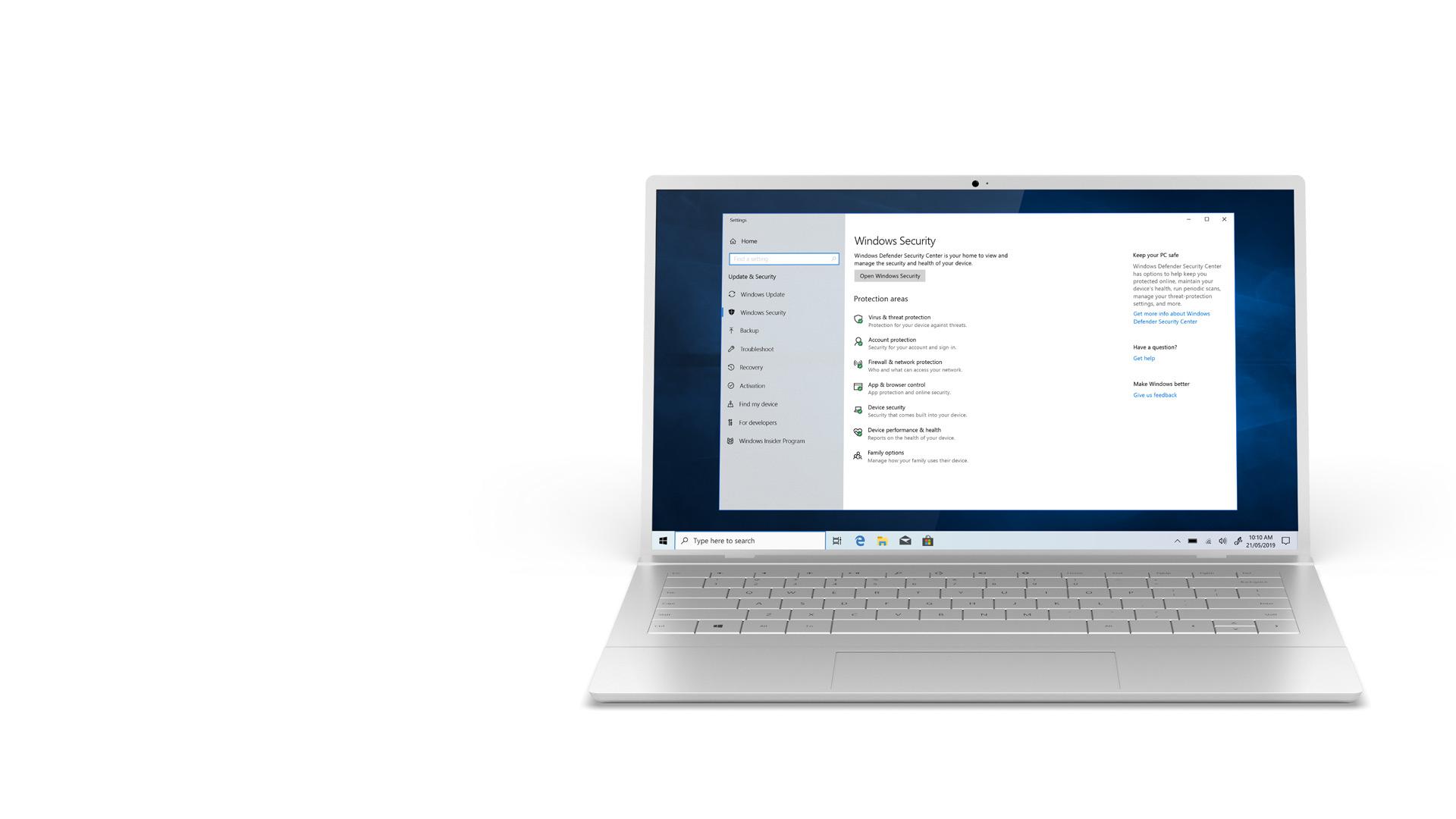 Windows 10-es laptop a Windows 10 biztonsági központjának képernyőjével