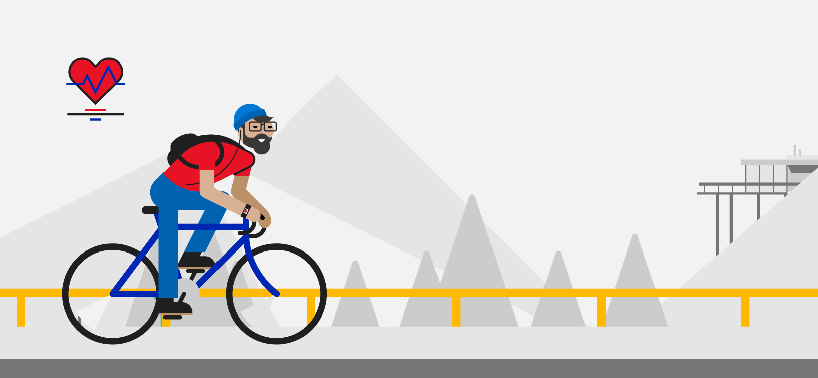 Az utcán bicikliző férfi