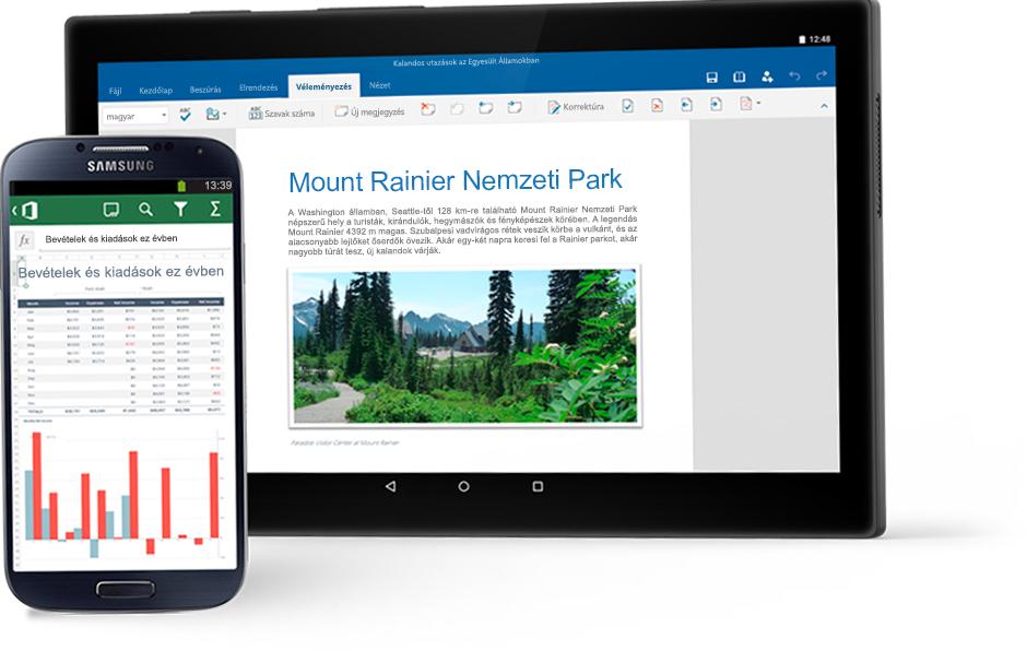 Egy Excel-diagramot megjelenítő telefon és egy táblagép, amelyen egy Word-dokumentum látható a Mount Rainier Nemzeti Parkról