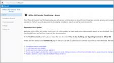 Az Office 365 megbízhatósági portáljának lapja; információk az Office 365-szolgáltatások megbízhatósági portáljáról