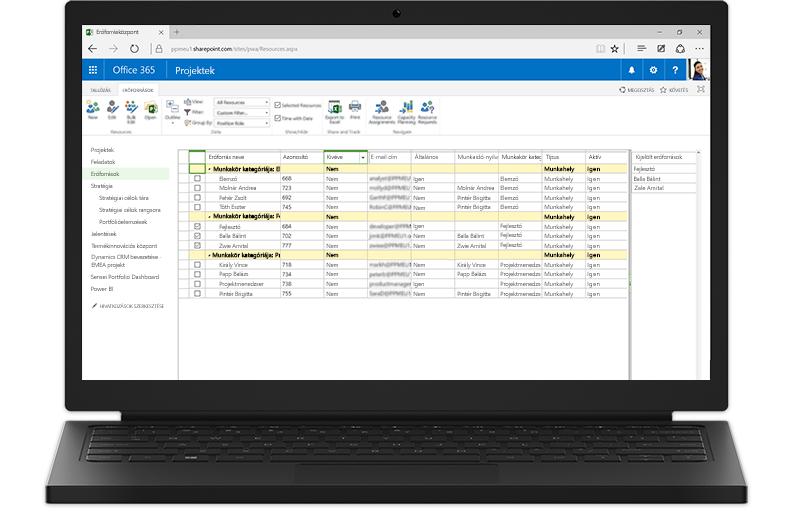 A Project Server SharePoint-alapú funkcióit megjelenítő laptop