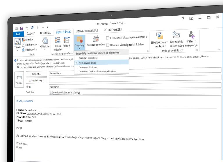 Képernyő, rajta egy Microsoft Azure Rights Managementtel titkosított e-maillel.