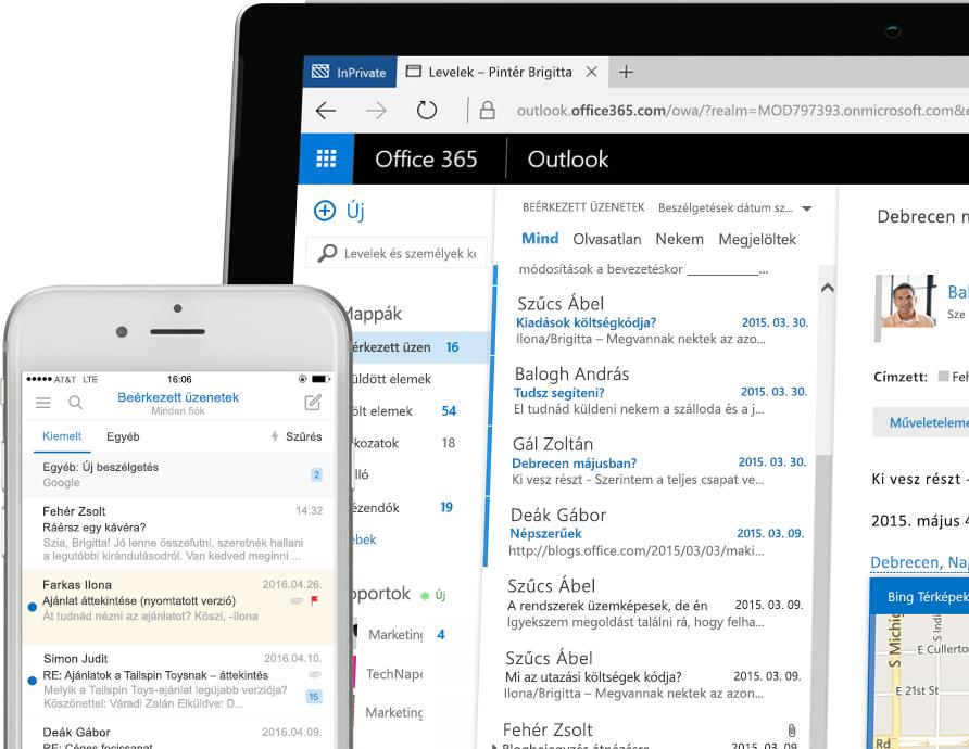 Exchange 2016 egy okostelefonon és egy windowsos táblagépen