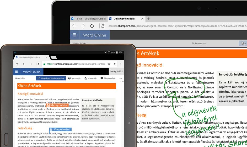 A Word Online egy laptop és egy táblagép képernyőjén