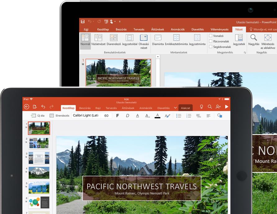 Egy táblagép és egy laptop, amelynek a képernyőjén egy PowerPoint-bemutató látható a Pacific Northwest Travels cégről