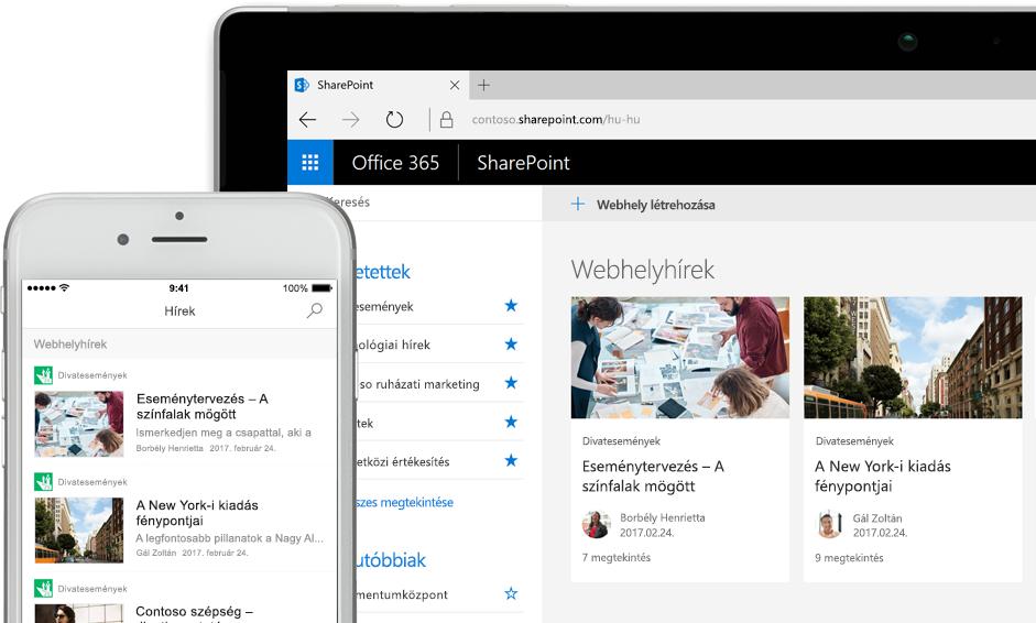 Hírek a SharePointban egy okostelefonon, valamint hírek és webhelykártyák egy táblagépen