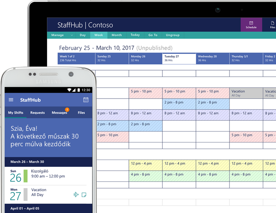 StaffHub appbeli tevékenységek egy okostelefon és egy táblagép képernyőjén