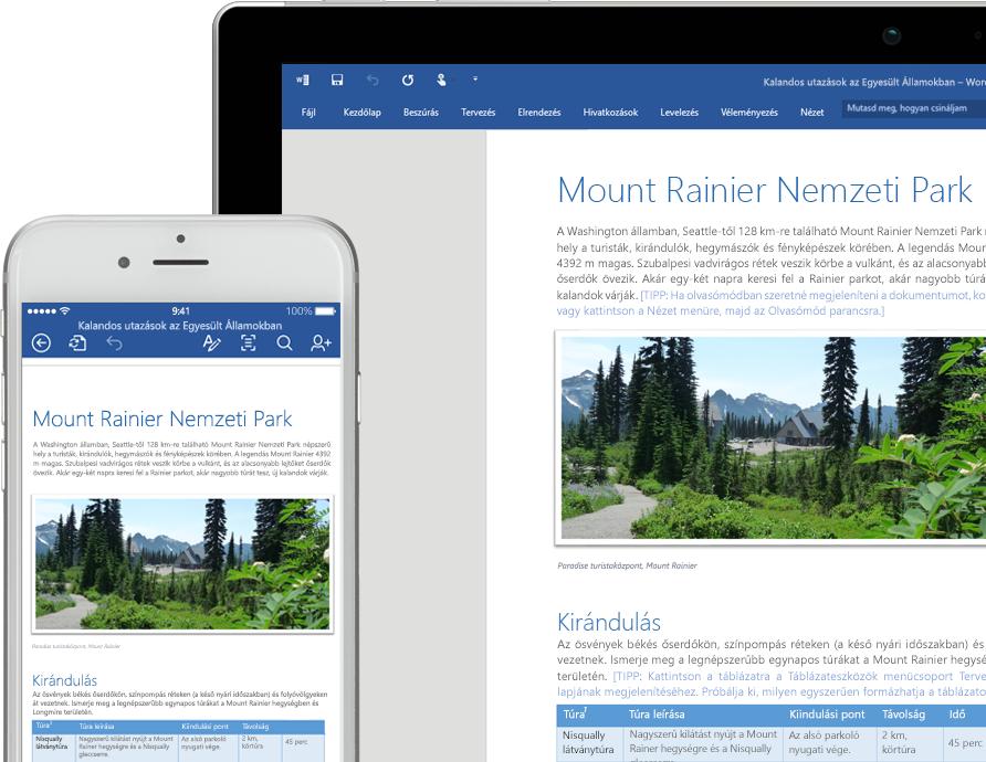 Egy mobiltelefon és egy táblagép képernyője, melyen egy, a Mount Rainier Nemzeti Parkról szóló Word-dokumentum látható