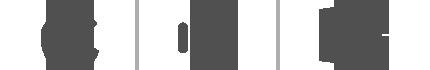 Az Apple®, az Android™ és a Windows emblémáját ábrázoló kép.