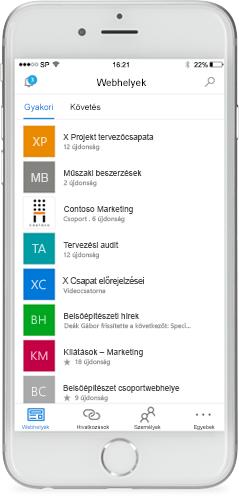 A SharePoint mobilalkalmazás egy telefon képernyőjén