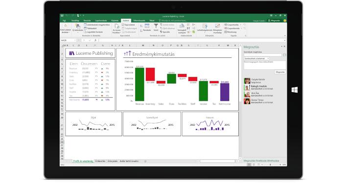 Az Excel Megosztás lapja, amelyen a Személyek meghívása beállítás látható kiemelve.