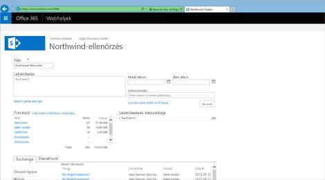 Közelkép az Exchange Online Archiválás keresési eredményeinek listájáról.