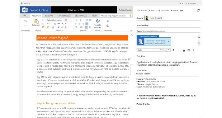 Egy dokumentummelléklet betekintő ablaktáblája mellett látható e-mail a Word Online-ban