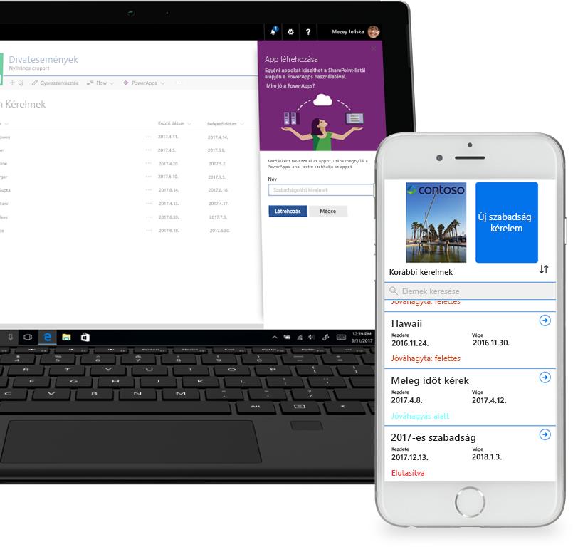 egy laptopon egy SharePoint-beli szabadságkérelmezési lista és a PowerApps alkalmazás-létrehozási képernyője látható, mellette egy okostelefon, rajta egy a PowerAppsben létrehozott új szabadságolási kérelemmel