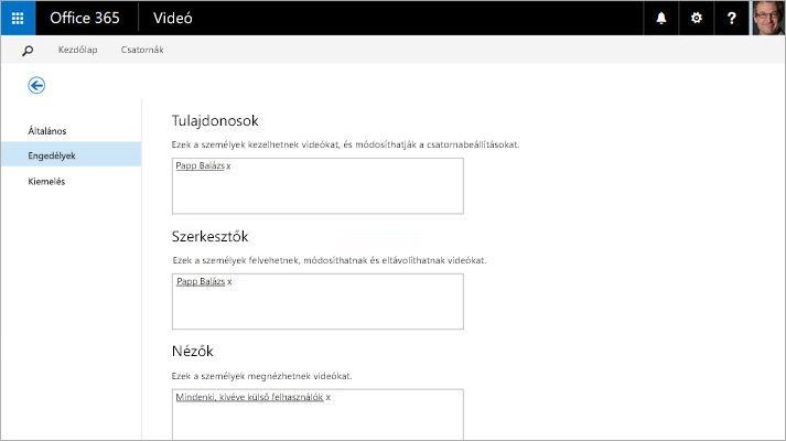 Képernyőkép: az Office 365 Videó szolgáltatás videók kezelésére szolgáló portáljának lapja