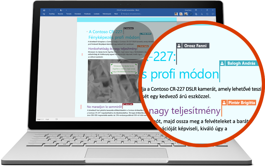 Laptop, amelyen több felhasználó együttműködik egy Word-dokumentumon
