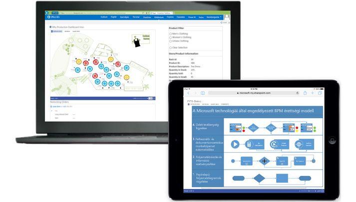 Egy-egy Visio-diagramot és a véleményezők megjegyzéseit megjelenítő laptop és táblagép