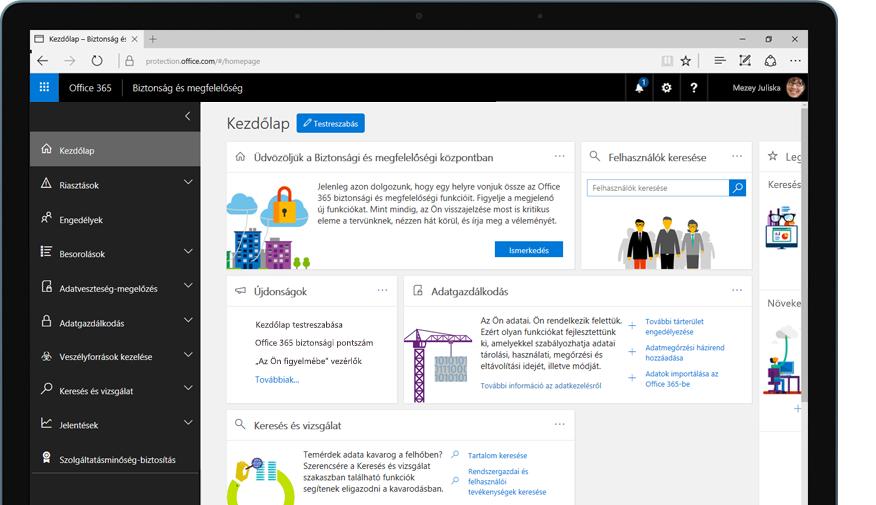 Az Office 365 Biztonsági és megfelelőségi központjának kezdőlapja egy táblagép képernyőjén