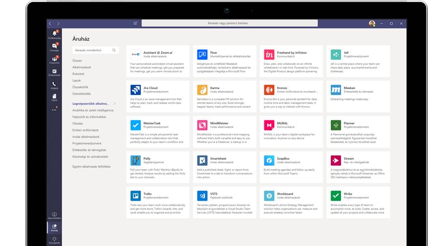 A Teamsben megjelenített Microsoft App Store