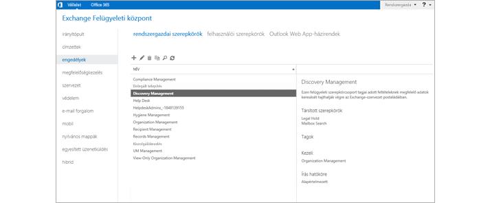 Képernyőkép az Exchange Felügyeleti központ Engedélyek lapjáról, ahol kezelhetők a felügyeleti szerepkörök.