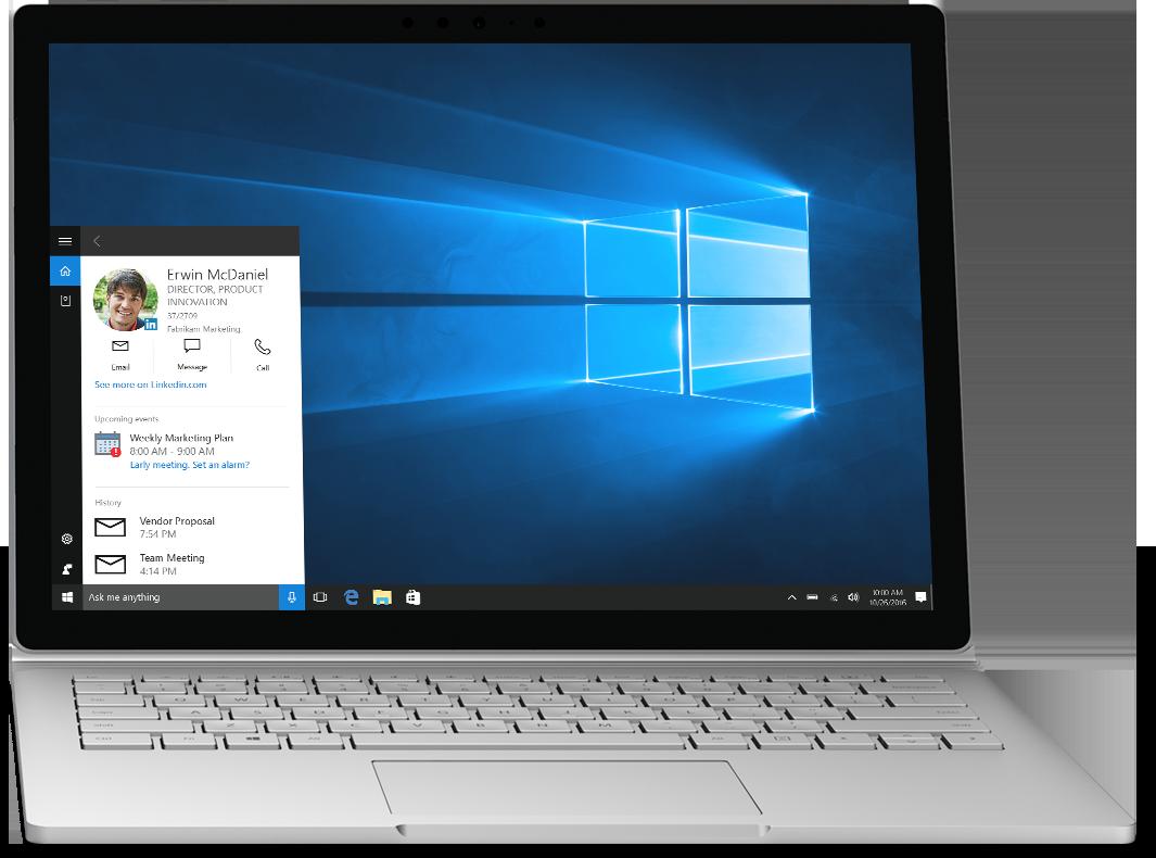 Laptop, amelyen a Cortana látható a Windows 10-ben