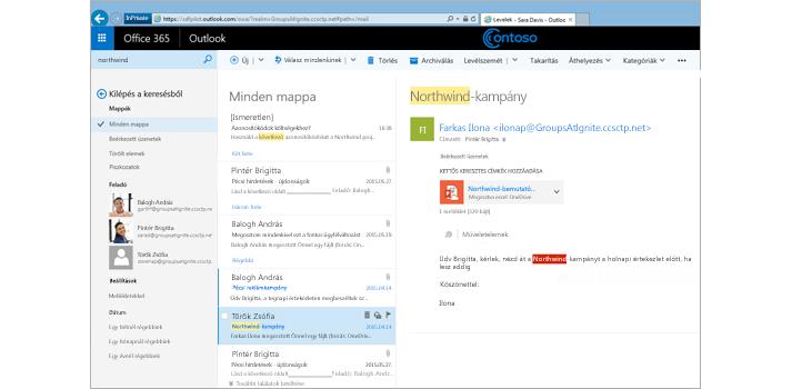 Közelkép egy felhasználó postaládájáról az Outlook Web Appban.