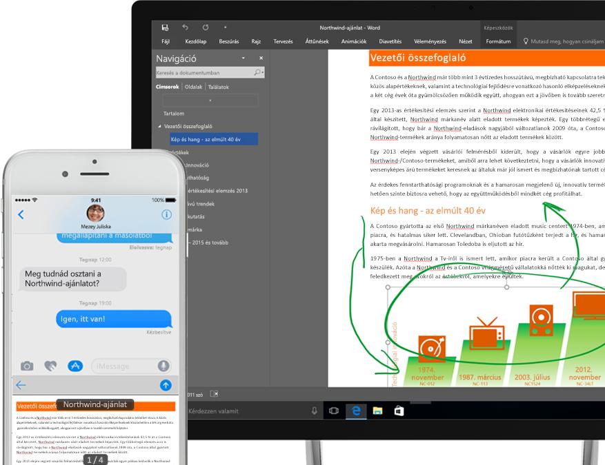 OneDrive-on látható fájlok egy okostelefonon és egy táblagépen