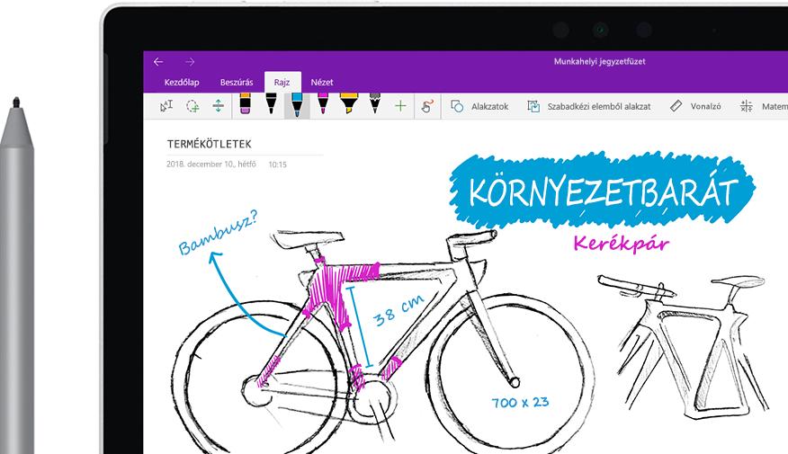 """Egy digitális tollal rajzolt vázlat egy táblagépen az """"Eco bike"""" nevű bicikliről."""