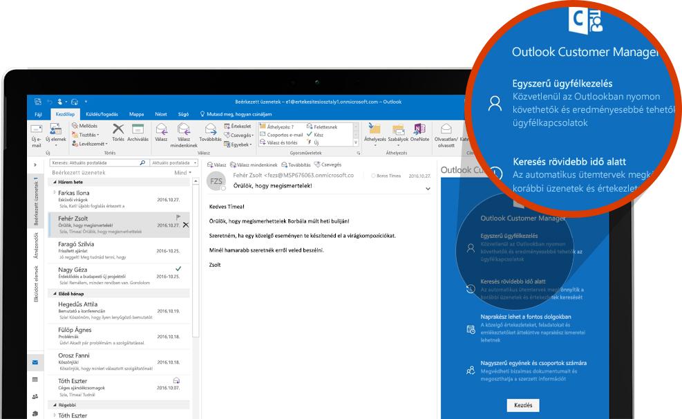 Számítógép képernyője, amelyen az Outlook Customer felnagyított szakasza látható az Outlookban