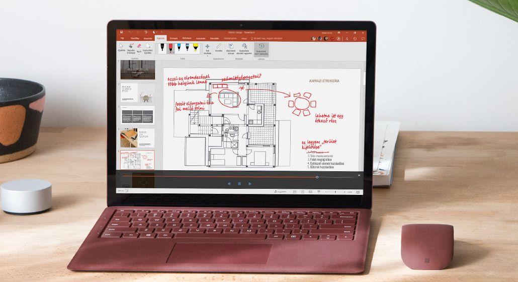 Szabadkézi művelet visszajátszása egy Surface táblagépen megjelenő építészeti tervrajzon