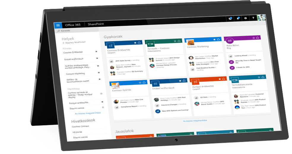 A SharePoint Saját helyek képernyője egy laptopon