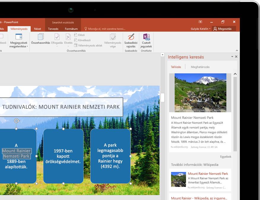 Egy táblagép, melynek a képernyőjén a PowerPoint alkalmazás Intelligens keresés funkciója látható