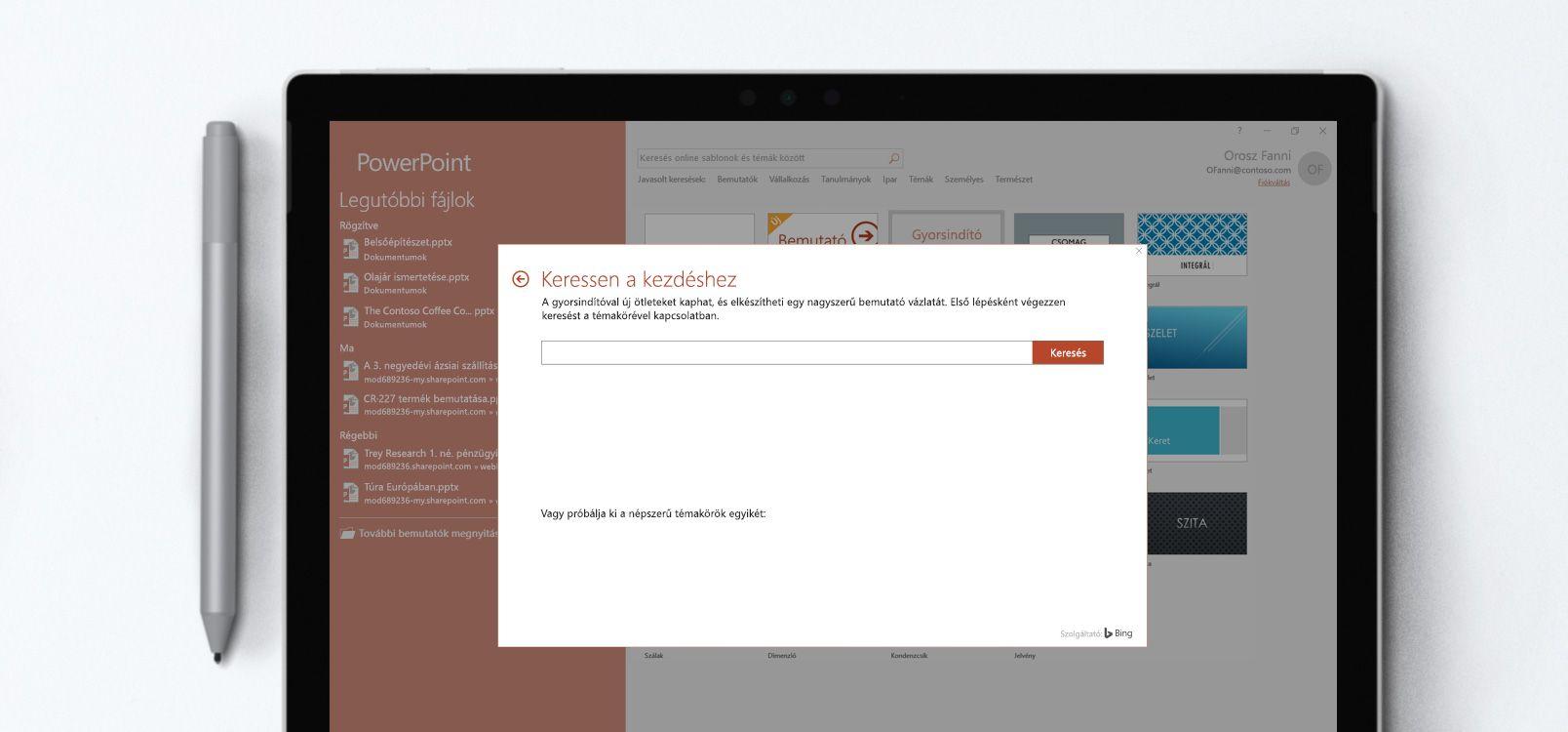 A Gyorsindító funkciót használó PowerPoint-dokumentum egy táblagépen